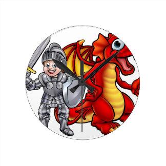 Relógio Redondo O dragão dos desenhos animados e knight 2017 A3-01
