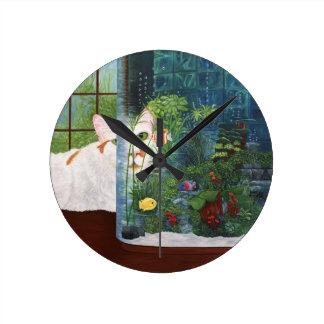 Relógio Redondo O gato aquático