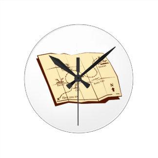Relógio Redondo O mapa da fuga com X marca o Woodcut do ponto
