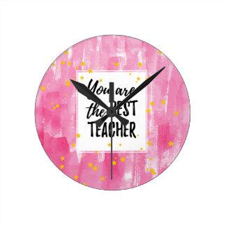 Relógio Redondo O melhor professor - aguarela amarela cor-de-rosa