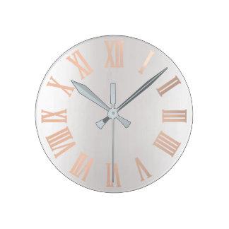 Relógio Redondo O ouro cor-de-rosa cora metálico mínimo de prata