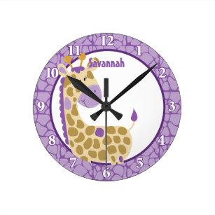 f9a7f4ecf59 Relógio Redondo O pulso de disparo de parede do girafa da selva (r