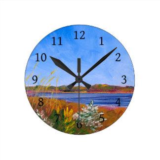 Relógio Redondo O Rio Delaware dourado