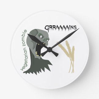 Relógio Redondo O zombi do vegetariano quer Graaaains!
