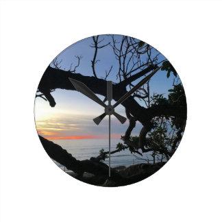 Relógio Redondo Oceano & árvores
