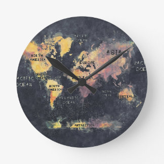 Relógio Redondo OCEANOS e continentes do mapa do mundo