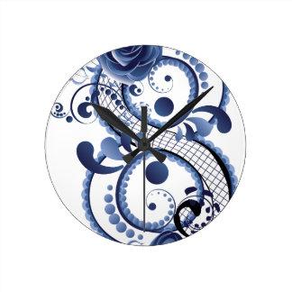 Relógio Redondo Oito florais azuis