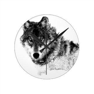 Relógio Redondo Olhos inspirados brancos pretos do lobo