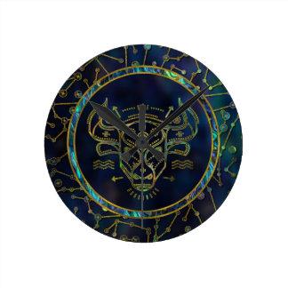 Relógio Redondo Olmo do ouro do zodíaco do Taurus na constelação
