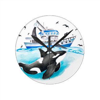 Relógio Redondo Orca e o barco
