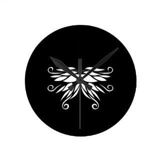 Relógio Redondo Ornamento brancos pretos do Nordic de Sibéria