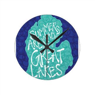 Relógio Redondo Os verões são feitos nos grandes lagos - azul