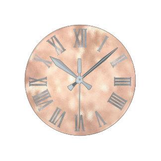Relógio Redondo Ouro cor-de-rosa Numers romano metálico mínimo da
