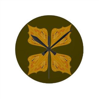 Relógio Redondo Ouro das mandalas na azeitona