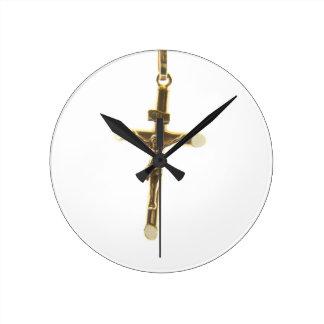Relógio Redondo Ouro transversal do Jesus Cristo horizontal