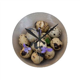 Relógio Redondo Ovos de codorniz & flores 7533