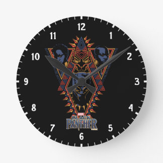 Relógio Redondo Painel tribal dos guerreiros da pantera preta |