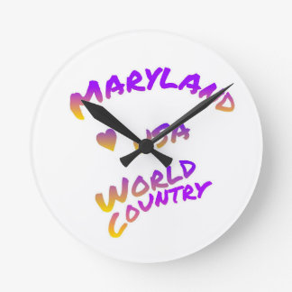 Relógio Redondo País do mundo de Maryland, arte colorida do texto