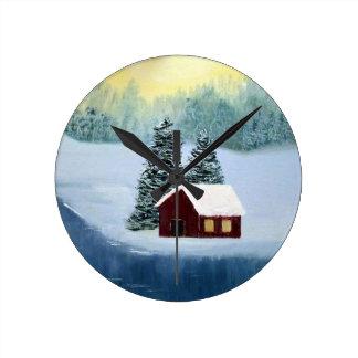 Relógio Redondo Paisagem congelada paz das árvores do rio da neve