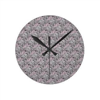 Relógio Redondo Paisley cor-de-rosa