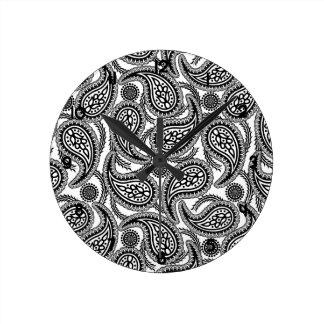 Relógio Redondo Paisley preto e branco