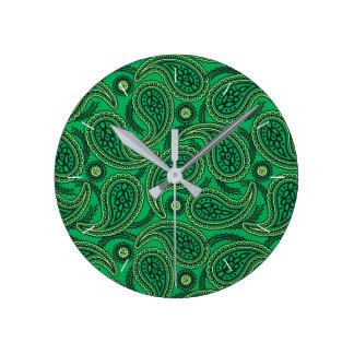 Relógio Redondo Paisley verde