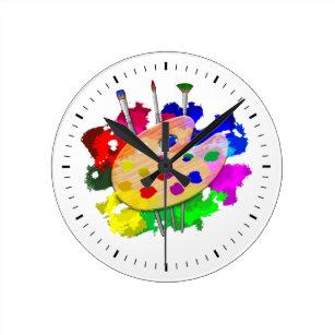 fa3e764d828 Relógio Redondo Paleta e escovas do artista