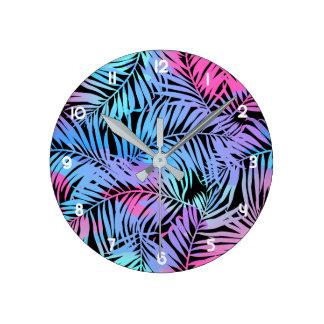 Relógio Redondo Palmas coloridas tropicais