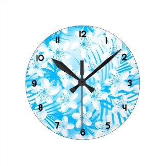Relógio Redondo Palmeiras tropicais azuis