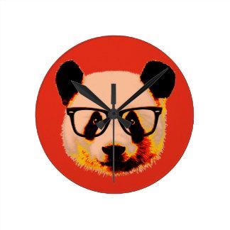 Relógio Redondo Panda com vidros no vermelho