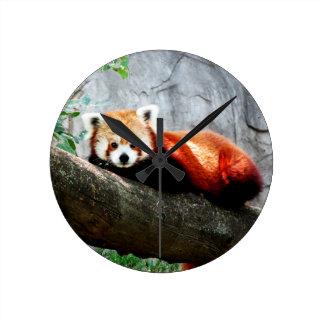 Relógio Redondo panda vermelha animal engraçada bonito