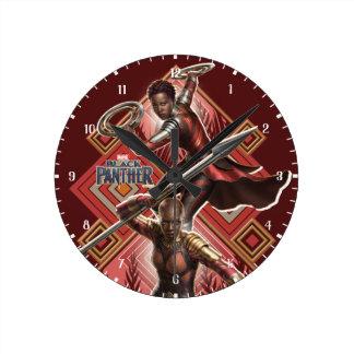 Relógio Redondo Pantera preta | Nakia & gráfico de Okoye Wakandan