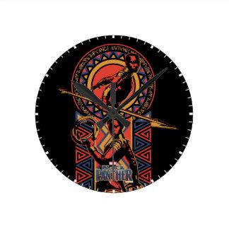 Relógio Redondo Pantera preta | Okoye & painel de Nakia Wakandan
