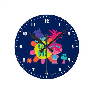 Relógio Redondo Papoila & ramo dos troll | - oh olá! lá