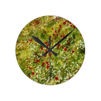 Relógio Redondo Papoilas impressionista