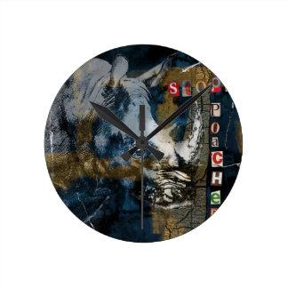 Relógio Redondo Pare a arte da conservação dos animais selvagens