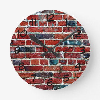 Relógio Redondo Parede de tijolo rústica