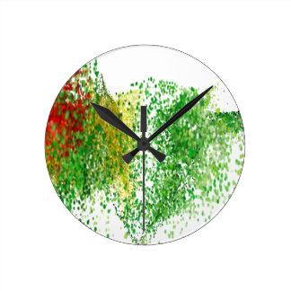 Relógio Redondo Partículas coloridas vôo no ar