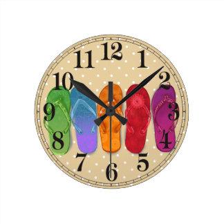 Relógio Redondo Partido da praia dos flip-flops das sandálias - po