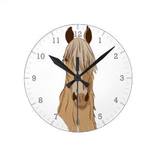 Relógio Redondo Paso Finos: Cabeça do Palomino do cavalo de Paso