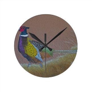 Relógio Redondo Pássaro selvagem do faisão do pescoço do anel