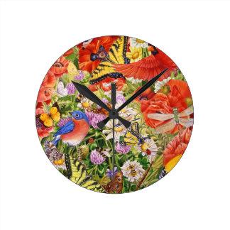 Relógio Redondo Pássaros, borboletas e pulso de disparo de parede