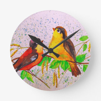 Relógio Redondo Pássaros do primavera