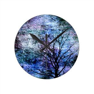 Relógio Redondo Pássaros na árvore no céu Sparkling