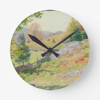 Relógio Redondo Pasto em setembro - Willard Metcalf do montanhês