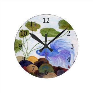 Relógio Redondo Peixes azuis de Betta