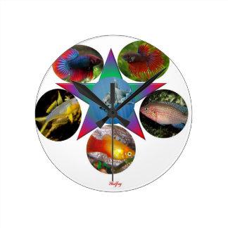 Relógio Redondo peixes, peixe dourado, carpa, pesca, mar, oceano,