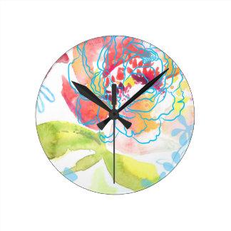 Relógio Redondo Peônia bonito
