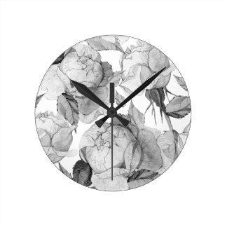 Relógio Redondo peônia cinzenta