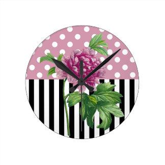 Relógio Redondo Peônia cor-de-rosa artística